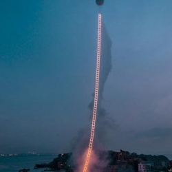 "Chinese artist Cai Guo-Qiang, known for his use of gun powder to create art, recently used a whole lot of it pay tribute to his grandmother's 100th birthday with a stunning art piece, ""Sky Ladder""."
