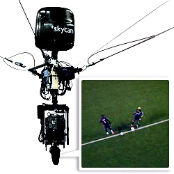 Awesome descriptions of the Skycam system. A flying Steadicam. It is a broadcast quality, robotic camera, suspended from a cable-driven, computerized transport system. See the videos.