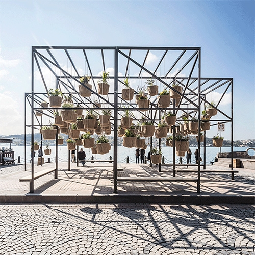 """Sky Garden"", designed by SO? is at Ortaköy Square in Istanbul. Visitors can push and pull the pots to change the feel of the pavilion."