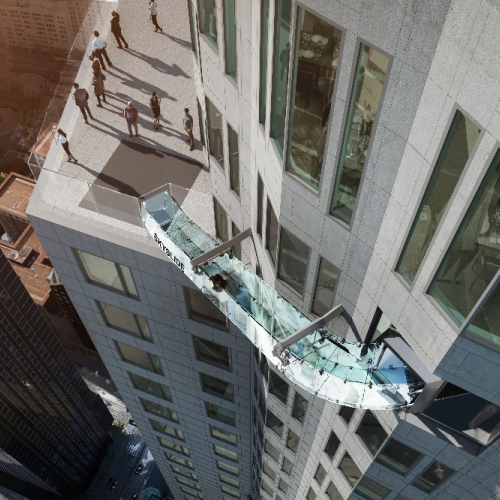 "A glass-enclosed ""skyslide"" is being added to the US Bank Tower in downtown Los Angeles, offering thrill seekers the opportunity to glide down the building's exterior."