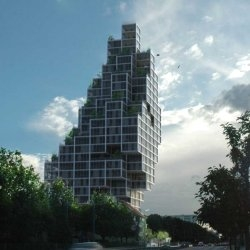 'Sky Village' by MVRDV Architects has won the competition for a new skyscraper in Copenhagen, Denmark.