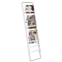 CB2 Slat Rack ~ nice way to hang your magazines on a free standing rack...