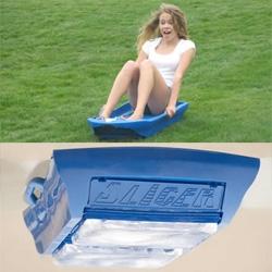 Slicer! Ice Sled for SUMMER! Literally sledding on blocks of ice...