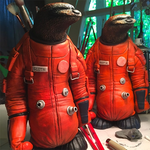 Dave Pressler Astro Sloths! Limited Edition Resin Color Edition! Cast from the original sculpture, 8.5 inches tall and a hefty 2 pounds of solid resin with a full color custom hand painted finish.