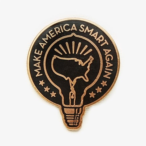Make America Smart Again! Pin and T-shirt. Created by Shepard and Amanda Fairey to combat voter apathy and the spread of misinformation. All profits from sales of the MASA Tee and Pin will benefit Rock The Vote.