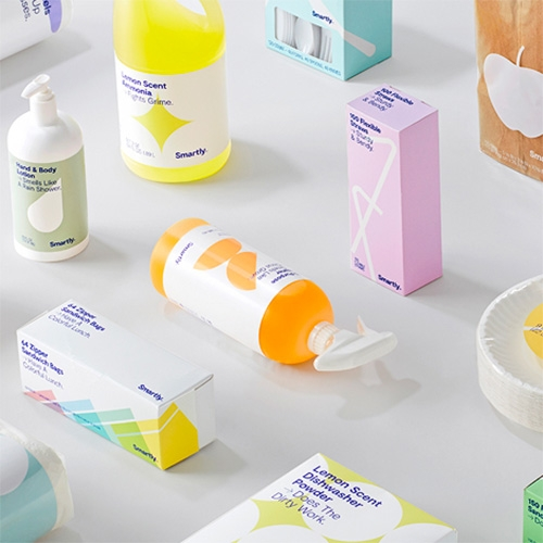 "Target launches Smartly - ""Target's Newest Owned Brand With Most Items Under $2"" with over 70 products, and fun minimal, modern packaging graphics."