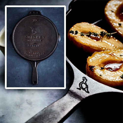 Smithey Ironware No 10 Cast Iron Skillet - that quail logo! Just staring at it on the neck seems like it might making cooking extra fun.