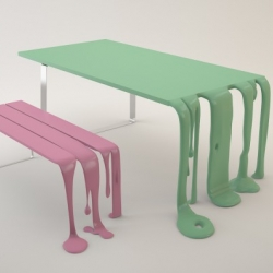 Playful, melted table – bench set entitled Smooth & Smoothie.