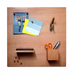 SmorgasBoard is a wooden magnetic bulletin board with different wooden attachments: Pegs for your pictures and notes, Hook for your keys, Box for your pens, and Shelf for your phone and wallet.
