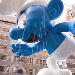 To celebrate the Smurfs' 50 year anniversary, a giant blue balloon graced the sky this morning at the Macy's Thanksgiving Day Parade.