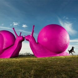 Cracking Art Group, Pan-European art collective, unleashing 24 gigantic 100 kg neon snails on Sydney as part of Art & About, month-long city public arts program, after which the snails will be broken down and recycled.