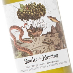 Snake + Herring wines, with packaging by  brainCELLS.