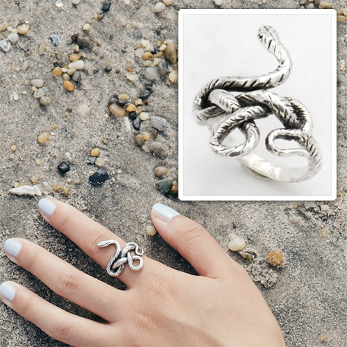 Kaye Blegvad Snake Knot Ring in silver and brass.