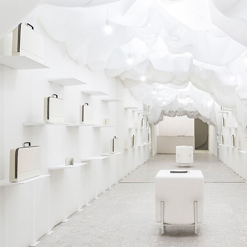 Valextra's Via Manzoni, Milan boutique by Snarkitecture! Wallpaper has a nice look inside the stunningly white space.