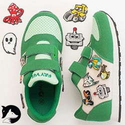 "Fayvel ""Shoes for dreamers"" - the velcro patch game has expanded to kid's sneakers. Adorable double fox logo too!"