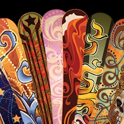 We've seen lots of skateboards. In honor of winter, let's give some love to the beauty of the snowboard. Gorgeous boards by phoenix zoellick.