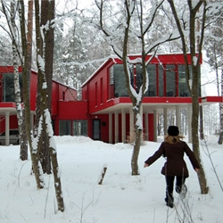 We rounded up our favorite snow-bound architecture for the Holidays - here's the 2 Sisters House by NRJA in Langstini, Latvia.