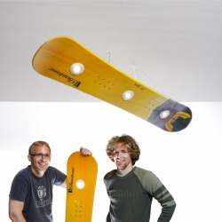 The original snowboard lamps! From Linus and Niklas Linder. Mounted with halogen bulbs, their Originals collection uses used boards, complete with scratches.