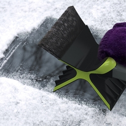 With the severity of this winter, the Snowdozer  might come in handy. This snow scraper is collapsible, and with a double-blade ice scraper that gives you more leverage to scrape an icy windshield.