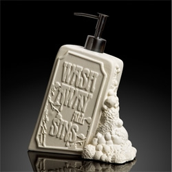 "Undergrowth Design ""Wash Away All Sins"" Soap Dispenser ~ nice definition of ""clean"" on the back for your guests to read while washing up as well!"