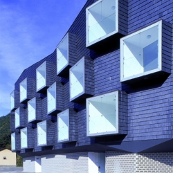 This is the new housing project by Zon-e Architects, located in a mining town in the heart of the Cantabrian Mountains in Spain
