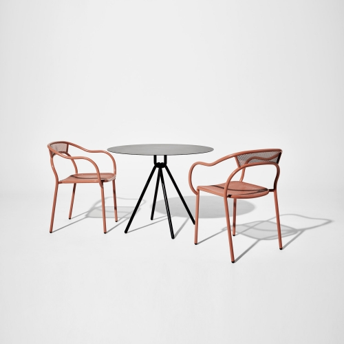 Soda Chair by Marcel Sigel for DesignByThem. Powder coated 304 stainless steel, for indoor and outdoor use.  Bold yet light.