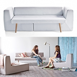 Sofista - modular sofa designed by Fabrizio Simonetti. A 3 seater sofa, armchair, chaise longue and single bed: all in one!