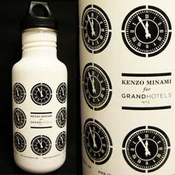 On fun collaborations ~ limited edition Klean Kanteen water bottles, created exclusively for Grand Hotels by New York-based artist Kenzo Minami