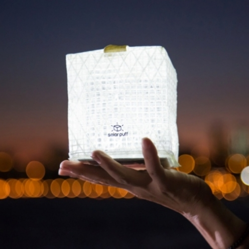 Solarpuff is a solar-powered origami-inspired light that works for up to 12 hours after 8 hours of exposure to the sun.