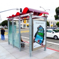 San Francisco Mayor Gavin Newsom recently unveiled the first of 1,100 solar powered bus shelters that will be installed throughout the city between now and 2013.