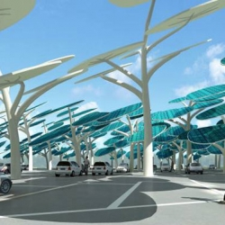 Neville Mars' Solar Forest is a shady parking lot that generates energy for your plug-in EV!
