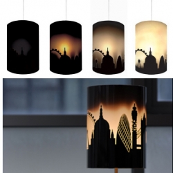 The Solarise lampshade of the London Skyline   The sky is printed on a thermochromic layer that reacts to heat. Once you turn the lamp on, the shade gradually lets more light through giving the effect of the sun rising.Dimensions height 30cm, diameter 22cm