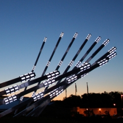 """Solar Collector"" is an interactive outdoor light sculpture, powered by solar energy and with a continually evolving light show programmed online by the public from anywhere in the world."