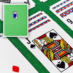 Areaware Solitaire Cards by Susan Kare (of old school mac icons and windows 3.0 solitaire too!) in all their pixelated glory. Solitaire goes from physical to digital to physical!