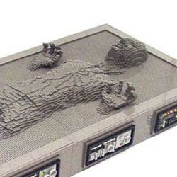 Nathan Sawaya is a Certified LEGO Professional which means he builds things out of Lego for a living. Here's his lifesized Han Solo in Carbonite sculpture.