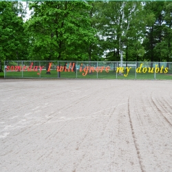 Lambchop's public design 'Someday I will ignore my doubts' woven into a fence in Kaisaniemi Park, Helsinki, Finland.