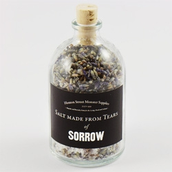 Salt Made From Tears ~ The range from Monster Supplies includes flavors of sorrow, laughter, chopping onions, and more!