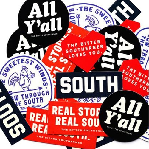 The Bitter Southerner (great read!) has a General Store... with fun stickers and tees that say everything from All Y'all to Bless Your Heart, Abide No Hatred, Collards & Cornbread and more...