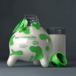 Packaging concept by Russian agency, Kian for soy milk (soymammelle) that looks like an udder and uses its imagery to convey an ecofriendly and health conscious message.
