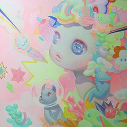 So Youn Lee's 'Cute Surrealism' Paintings with adorably POPy characters include a version of her frenchie, Choco!