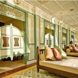 Malacca Majestic: Intricately tiled floor and wooden shutters that filter natural light, creating dancing shadows.  Crafted traditional wooden doors in calm peaceful shapes + colors, keep a sense of timelessness.