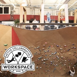 "Brooklyn Boulder's Active Collaborative Workspace (ACW) in Somerville - ""Built on top of a 120 foot long and 22 foot high climbing wall in the midst of the 40,000 square foot hybrid climbing facility..."""