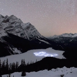 Simon Beck's Snow Art in motion in Banff National Park.