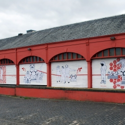As part of Red Stripe's 'Make Art On The Street' initiative, Spaceboy pasted his illustrations on the Newhaven Harbour shutters in Edinburgh, each brought to life through stop motion video by Blac Ionica.