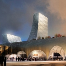 Project for the new Oslo Central Station by Spacegroup. A nice arched structure with a U-shaped crystal building. Great renderings by Luxigon.