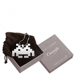 """Taito and silverware maker Christofle have buddied up to offer the Space Invaders fan a chance to express their love of the 1978 shoot 'em up in style. Meet the multi-use silver Space Invader """"fashion accessory""""."""