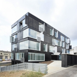 Once again spanish architects show innovative random facades.  In Barcelona, by ADD+ Arquitectura.