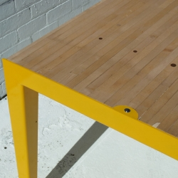 Spare Table, made with a Rock Maple bowling alley slab and folded and welded mild steel, powder coated in matte 'Yellow Gold'.