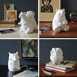 West Elm has cute ceramic animal speakers - fox, squirrel, bear, and owl.
