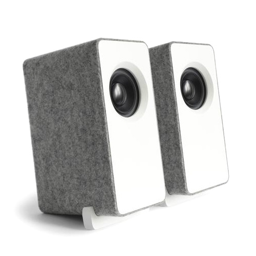 Well Rounded Sound Mini Monitors (WRS MM) - Impressive little desktop speakers in American Oak or American Walnut natural or in satin lacquer wrapped in Silver Gray 100% wool felt.
